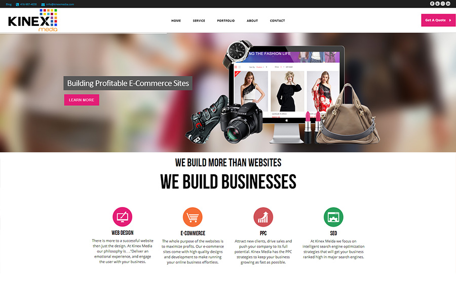 KinexMedia Ecommerce Website's Home Page