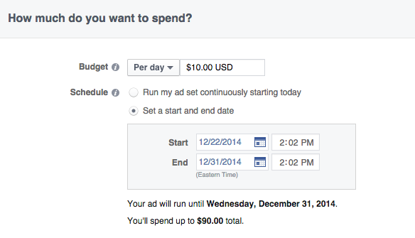 facebook choose end date of ads
