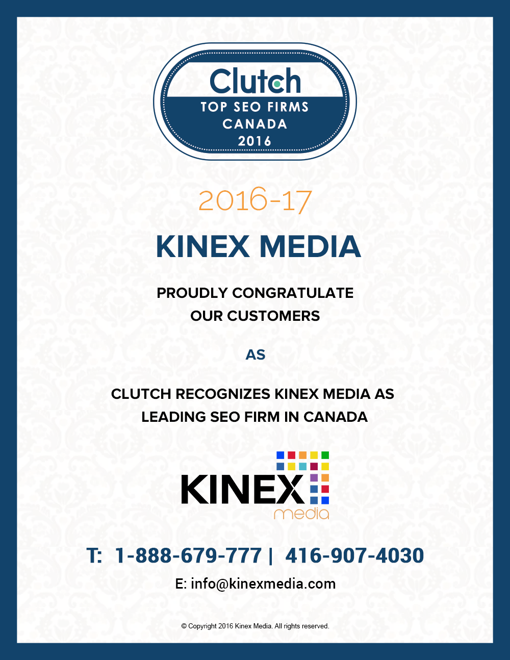 Kinex Media won Clutch award for top SEO firm 2016
