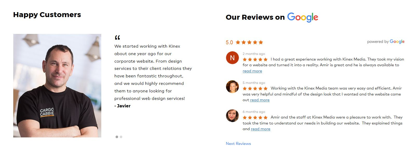 Show Client Reviews to Your Visitors