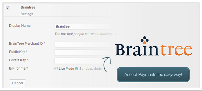 Payment Gateway braintree-