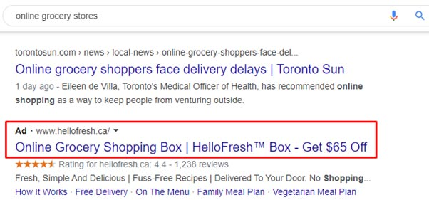 Paid Ads of Grocery Stores